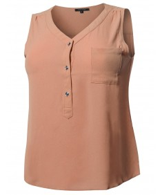 Women's Solid V-Neck Chiffon Blouse Tank Top