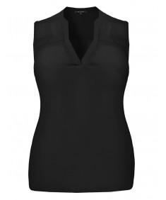 Women's Solid Sleeveless Semi-Sheer Chiffon Blouse Top