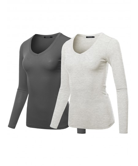 Women's Light weight Daily Casual Basic Long Sleeve V neck Tee Tops