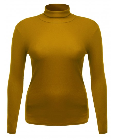 Women's Ribbed Turtle Neck Top Plus Size