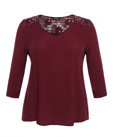 Women's Flowy 3/4 Sleeve Bohemian Lace Top