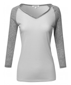 Women's Basic French Terry Quarter Sleeve Raglan Top