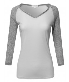 Women's Basic French Terry Quarter Sleeve Raglan Top