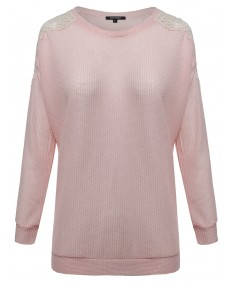 Women's Crochet Lace Accented Long Sleeve Knit Top