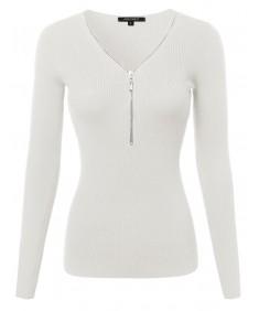 Women's Baisc Ribbed Long Sleeve Zipper Top