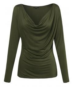 Women's Basic Draped Cowl Neck Long Sleeve Top