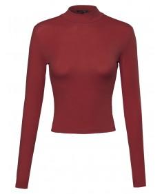 Basic Solid Cotton Based Long Sleeves Mock-Neck Crop Top