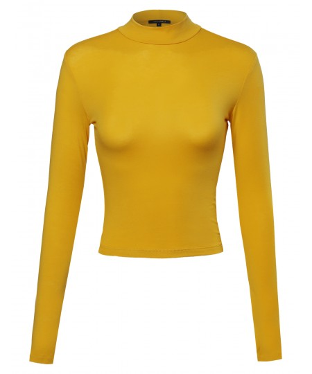 Women's Basic Solid Cotton Based Long Sleeves Mock-Neck Crop Top