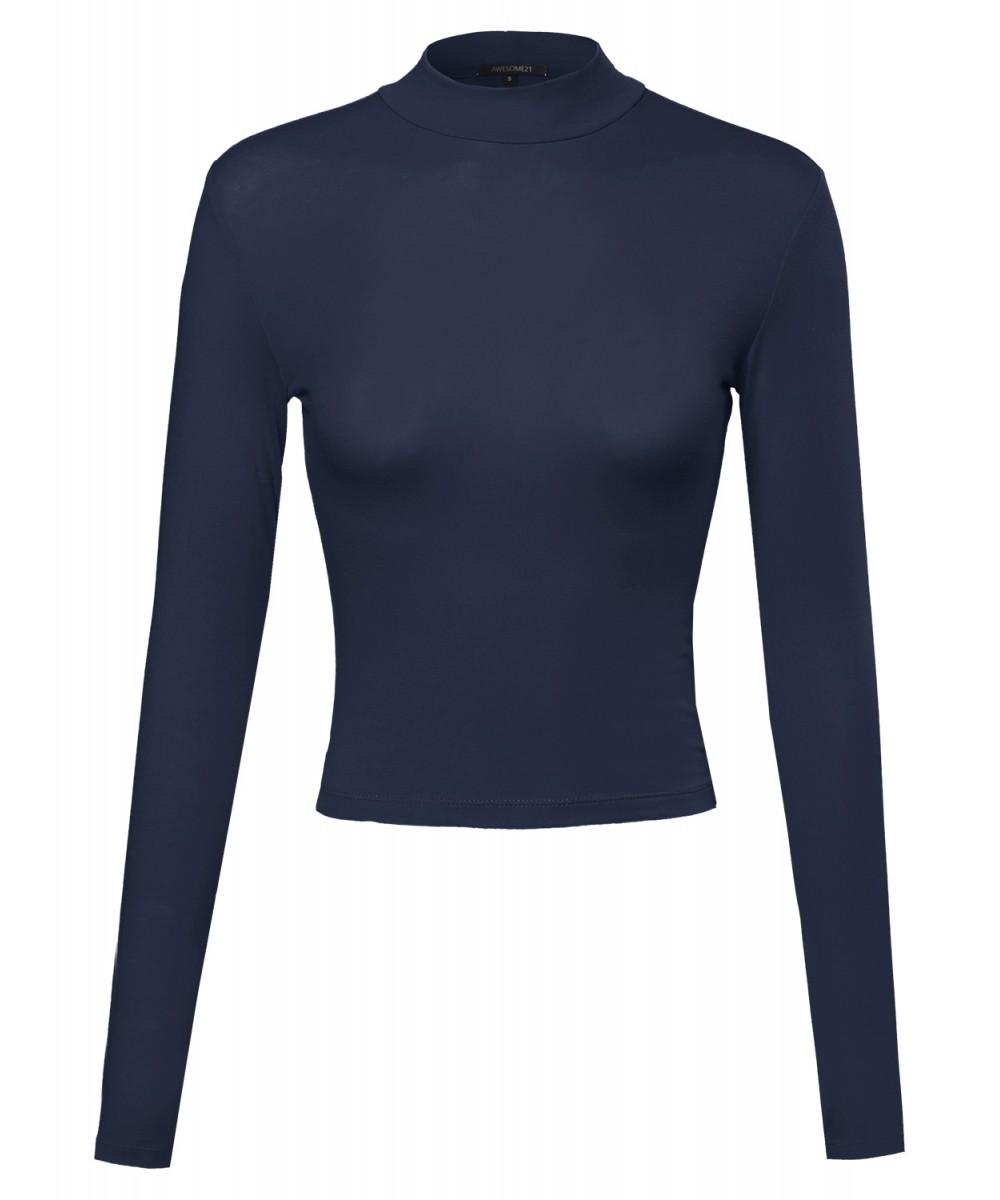 Women's Basic Long Sleeve Turtleneck Crop Top - FashionOutfit.com