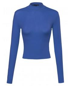 Women's Basic Long Sleeve Turtleneck Crop Top