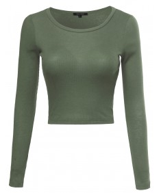 Women's Basic Solid Long Sleeves Crew-Neck Ribbed Knit Crop Top