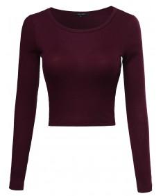 Women's Basic Rib Knit Long Sleeve Crop Top