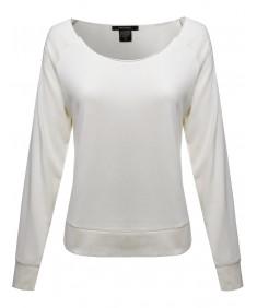 Women's Long Sleeve Lightweight Sweatshirt Scoop Neck Innerwear Basic