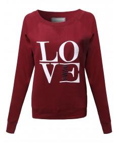 Women's Raglan Sweatshirt With 'LOVE' Logo Color Variations