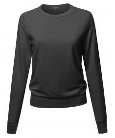 Women's Basic Lightweight Stretchy Sweatshirt