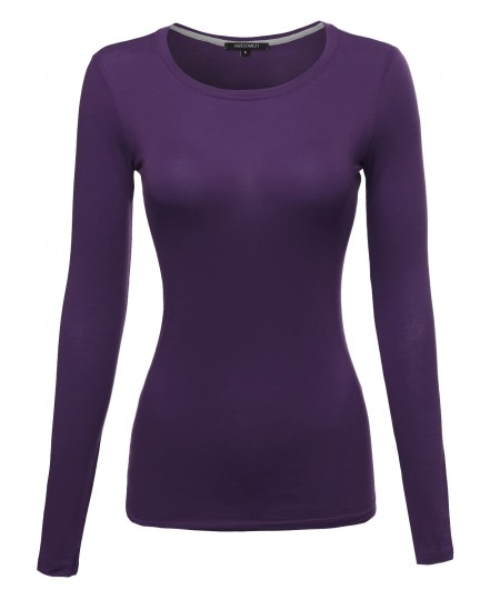 Women's Basic Lightweight Long Sleeve Crewneck T-Shirt