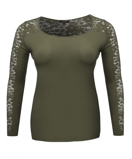 Women's Long Sleeve Round Scoop Neck Lace Top