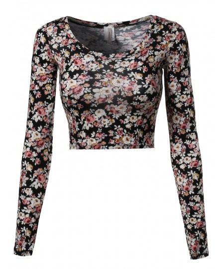 Women's Floral Prints Lightweight Long Sleeve Crop Top