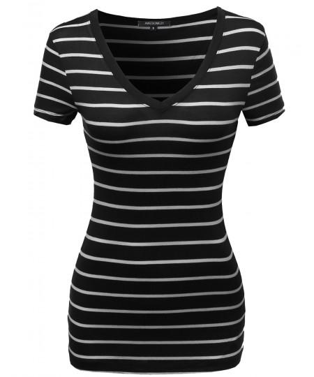 Women's Casual Thin Stripe Vneck Shirts