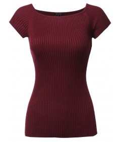 Women's Basic Ribbed Off The Shoulder Top