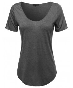 Women's Basic Scoop Neck Round Hem T-Shirt