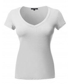 Women's Short Sleeve Wide V-Neckline T-Shirt