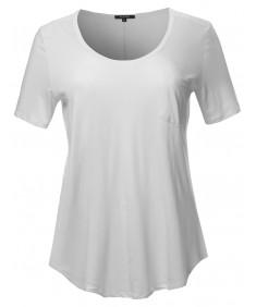 Women's Short Sleeve Wide Scoop Neck T-Shirt