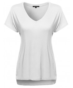 Women's Classic Dolman Short Sleeve V-Neck Top Various Colors