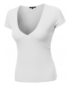 Women's Short Sleeve Ribbed V-neck Plunge Top Various Colors