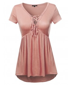 Women's Casual Solid Soft Stretch Short Sleeve Lace Up Front Top