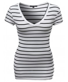 Women's Soft Stretch Loose Fit Stripe Short Sleeve V-neck Top