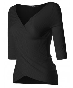 Women's Lightweight Solid Soft Stretch Ribbed Crossover Top S-3XL