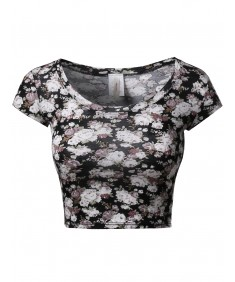 Women's Floral Prints Lightweight Cap Sleeve Crop Top
