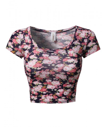 Women's Floral Prints Lightweight Cap Sleeve Crop Top