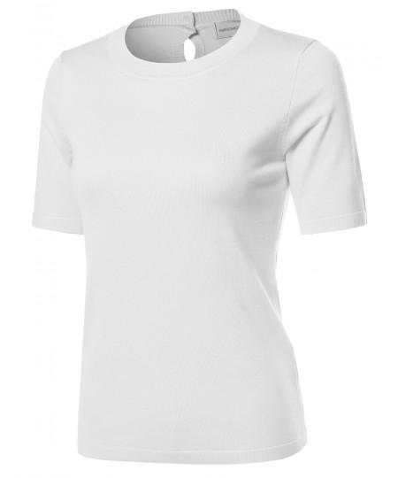 Women's VISCOSE Solid Office Soft Stretch Short Sleeve Knit Vest Top