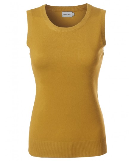 Women's VISCOSE Solid Office Career Soft Stretch Sleeveless Knit Top