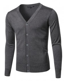 Men's Solid Classic V-Neck Button Down Sweater Cardigan