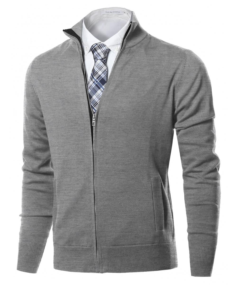 Men's Classic Full Zip Up Mock Neck Basic Sweater Cardigan Top ...