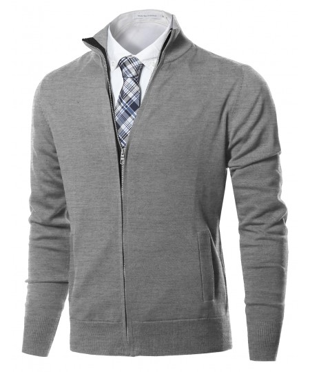 Men's Classic Full Zip Up Mock Neck Basic Sweater Cardigan Top