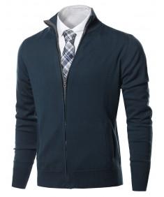 Men's Classic Full Zip Up Mock Neck Basic Sweater Cardigan Top