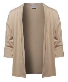 Men's Solid Kimono Style 3/4 Sleeve Open Cardigan