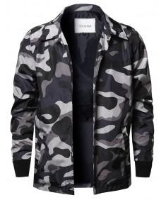 Men's Camouflage Printed Urban Style Light Weight Windbreaker Jacket