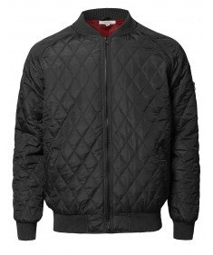 Men's Casual Basic Quilted Bomber Jacket