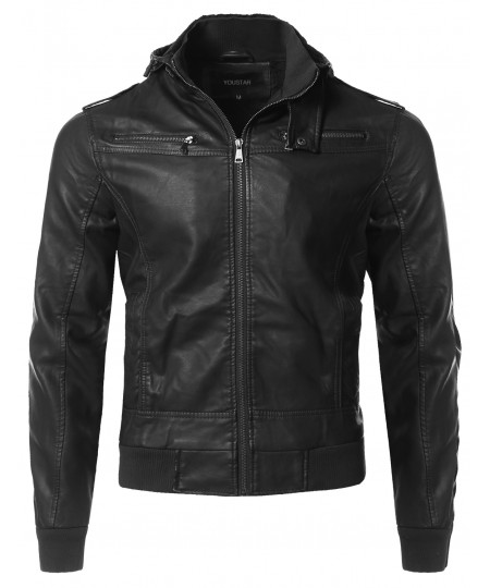 Men's Premium Quality Detachable Hoodie Polyurethane Jacket
