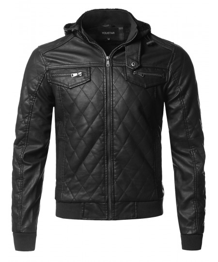 Men's Premium Quality Detachable Hoodie Quilted Polyurethane Jacket