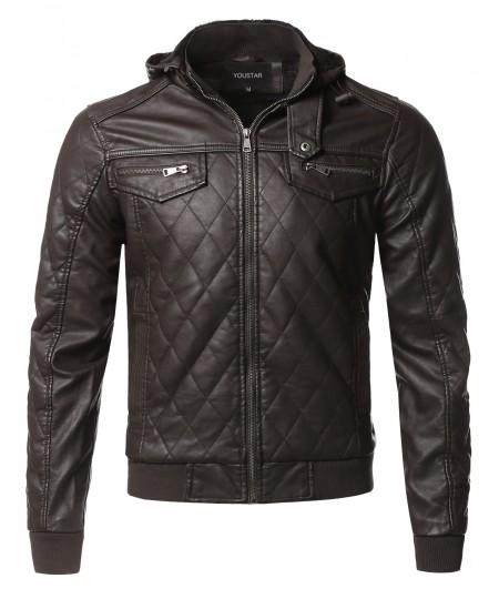 Men's Premium Quality Detachable Hoodie Quilted Polyurethane Jacket