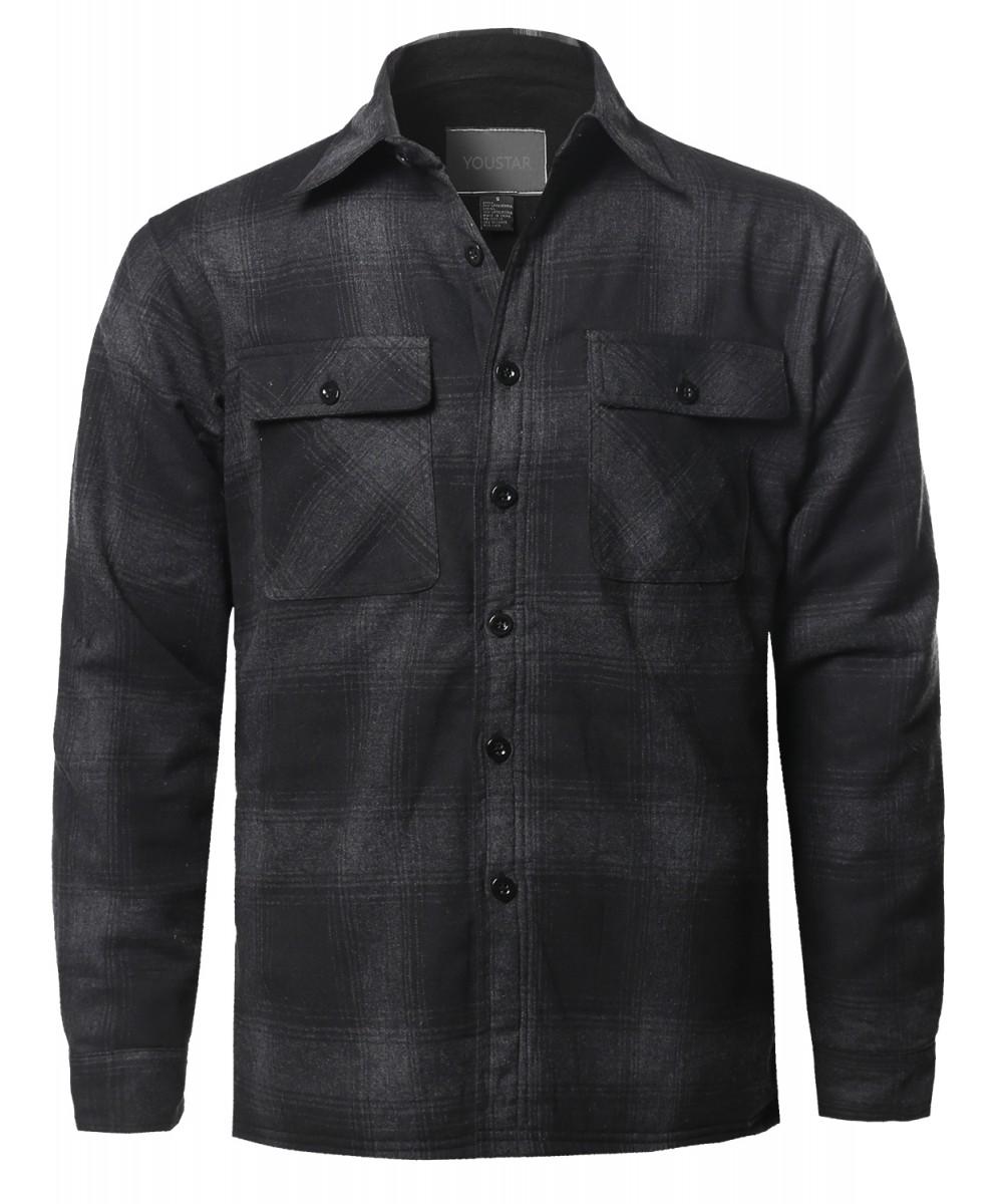 Men's Casual Button Down Plaid Flannel Shirt Jacket ...