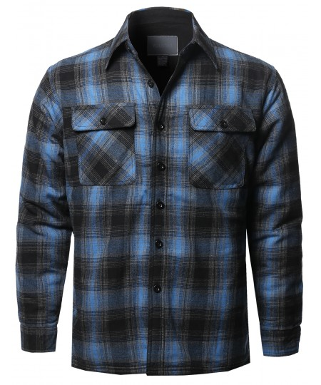 Men's Casual Button Down Plaid Flannel Shirt Jacket