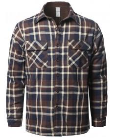 Men's Casual Button Down Plaid Flannel Shirt Jacket