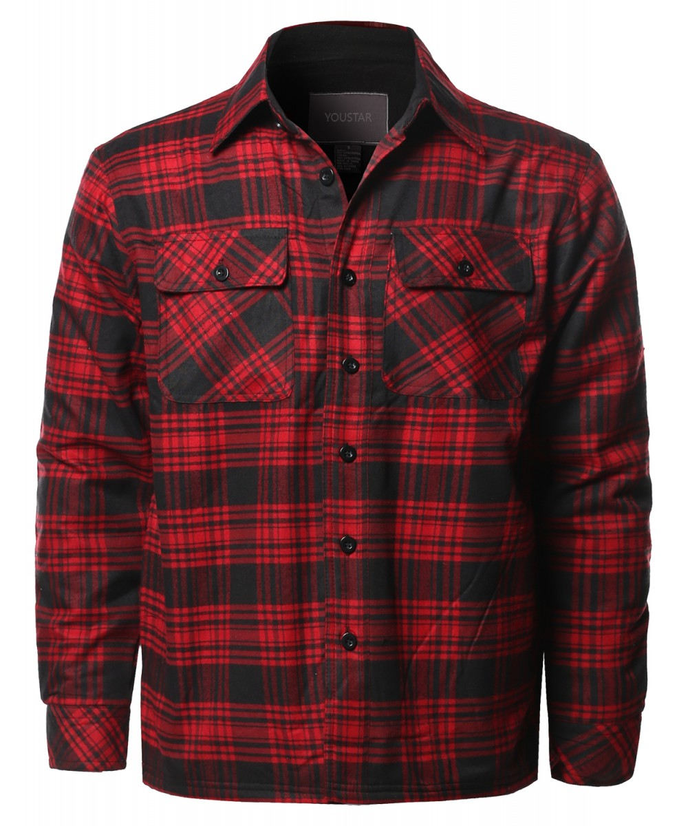 Men 39 s casual button down plaid flannel shirt jacket for Flannel shirt and vest